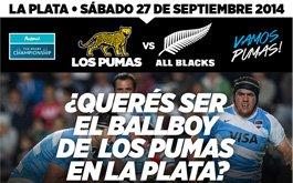 Queres ser Ballboy de Los Pumas en La Plata?