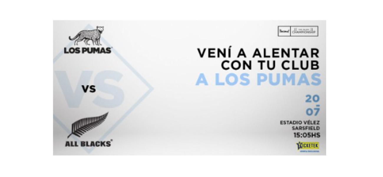 VENTA DE ENTRADAS A CLUBES DE ARGENTINA PARA LOS PUMAS – ALL BLACKS